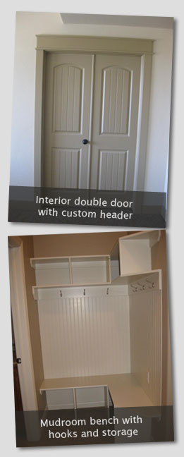 Interior double doors with custom header and mudroom bench with storage and hooks